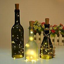 Flaschenlicht Abester 6 Stück LED Lichter String Stimmung Lichter Mini-Lichterkette für Party Dekor Weihnachten Halloween Hochzeit (Warmweiß, Länge 200cm mit 20 LED)