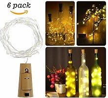 Flaschenlicht, ikalula 6-teilig 20 LED Weinflaschen Lichter Kork Flasche Mini-Lichterkette 100cm Kupferdraht Licht Flaschenbeleuchtung für Weihnachten Hochzeit und Party (Warm Weiß)