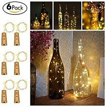 Flaschenlicht,Kork LED Licht,200cm Licht mit 20 Warmweiß LEDs Lichterkette,Romantische Beleuchtung für Party, Hochzeit,Konzertfest,Weihnachtsbaum Dekoration,Flasche DIY, Batteriebetrieben,6 Stück