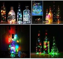 Flaschenlicht Weinflaschen Leuchter 6-teilig Kork Flasche Mini-Lichterkette Flaschen beleuchtung 100cm 20Leds Kupferdraht Licht Sternenlicht für Flasche DIY, Weihnachten Hochzeit und Party Halloween 7 colors
