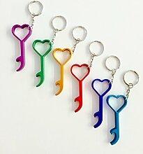 Flaschenöffner-Set Herz als Schlüsselanhänger,