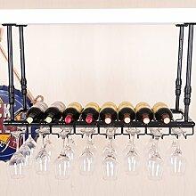 flaschenregal Weinglas-Gestell, Suspendierung kreatives Wein-Gestell, gedrehtes Eisen-Rotweinglas-Rahmen, Bar-Haushalts-Wein-Schalen-Halter weinständer ( Farbe : Schwarz , größe : 120*35cm )
