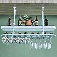 Flaschenweinregal, Bar-Hängeregal, Weiß/Bronze