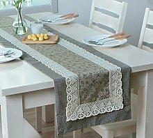 Flashing- American Pastoral Style Baumwolle und Polyester Material Pflanze Blumen Muster Tisch Flagge, Couchtisch Esstisch TV Schrank Tischläufer ( Farbe : #2 , größe : 35*220cm )