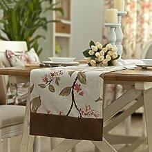 Flashing- American Village Style Baumwolle Leinen Material Pflanze Blumen Muster Tisch Flagge, Couchtisch Esstisch TV Schrank Tischläufer ( größe : 35*220cm )