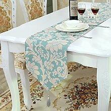 Flashing- Blau, Rot, Weißer Europäischer Stil Chenille Material Tischfahne, Couchtisch Esstisch TV Schrank Tischläufer ( Farbe : Blau , größe : 33*210cm )