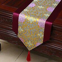 Flashing- Couchtisch Esstisch TV Schrank Tischläufer, Chinesisch Klassische Stil Seide Material Tisch Flagge ( größe : 33*200cm )