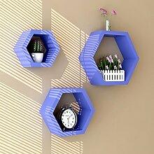 Flashing- Creative Lattice Wooden Wandregale / Floating Regal / Pflanze Stand, Wall Hanging TV Backdrop Wohnzimmer Dekoration Rack Wall Shelf ( Farbe : Lila )