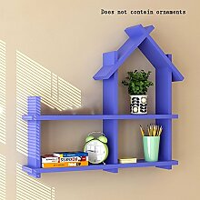 Flashing- Creative Room Type Hölzerne Wandregale / Floating Regal / Pflanze Stand, Wall Hanging TV Backdrop Wohnzimmer Rack Wall Shelf ( Farbe : Lila )