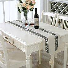 Flashing- Einfacher moderner Stil Flachs Material Tischfahne, Couchtisch Esstisch TV-Schrank Tischläufer ( Farbe : #1 , größe : 33*210cm )
