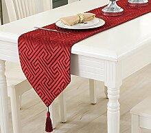 Flashing- Europäischen Stil gemischt Material Tischfahne, Couchtisch Esstisch TV-Schrank Tischläufer ( Farbe : Rot , größe : 32*200cm )