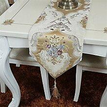 Flashing- European Pastoral Style Blended Material Pflanze Blumen Muster Tischfahne, Couchtisch Esstisch TV Schrank Tischläufer ( Farbe : #2 , größe : 30*180cm )
