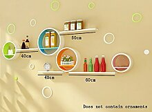 Flashing- European Style Holz Rundförmige Wand Shelf / Floating Regal / Pflanze Stand / Flower Racks / Bücherregal, Wohnzimmer Wand Hängende TV Backdrop Dekorative Frame ( Farbe : #5 )