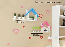 Flashing- Haus Typ Holz-Paneele PU-Beschichtung Schwimmende Regal / Pflanze Stand / Wand Regale, Wohnzimmer Wand Hängende TV Kulisse Dekoration Rack Wall Shelf ( Farbe : #1 )