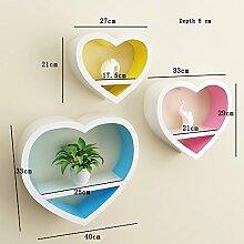 Flashing- Herzförmige Holzwand Regal / Bücherregal / Floating Regal / Pflanze Stand / Blumen Racks, TV Kulisse Dekorative Rahmen Wohnzimmer Wand hängen ( größe : Depth 5 cm )