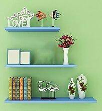 Flashing- Kreativ Holz-Paneele Wandregal / Bücherregal / Blumenregale / Regal, Free Stanzen Wohnzimmer Korridor Schlafzimmer Shop Wand hängende (Ein Satz von drei) ( Farbe : Blau )