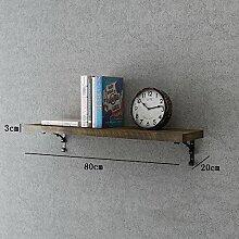 Flashing- Kreative Retro Holzböden Wandregal / Bücherregal / Blumenregale / Regal, Wohnzimmer Korridor Schlafzimmer Shop Wand hängende Dekoration ( größe : Length 80cm )