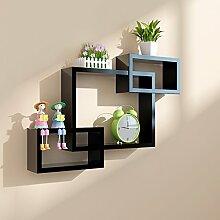 Flashing- Modern Simplicity Holz-basierte Panels Flower Racks / Bücherregal / Wall Shelf / Floating Regal, TV Hintergrund Wand Frame Wohnzimmer Wand hängende Dekoration ( Farbe : Schwarz )