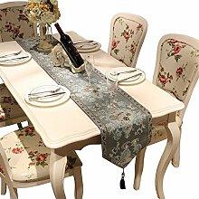 Flashing- Nachahmung Seide Jacquard Stoff Stickerei Handwerk Tischläufer, europäischen Stil Couchtisch Esstisch TV Schrank Tisch Flagge ( Farbe : #2 , größe : 32*180cm )