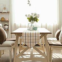 Flashing- Nordic Simplicity Style Baumwoll Leinen Material Gitter Muster Tisch Flagge, Couchtisch Esstisch TV Schrank Tischläufer ( Farbe : #2 , größe : 35*180cm )