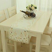 Flashing- Pastoral Stil Satin Material Pflanze Blumen Muster Tisch Flagge, Couchtisch Esstisch TV Schrank Tischläufer ( größe : 40*90cm )