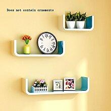 Flashing- Wooden Wall Shelf / Bücherregal / Floating Regal / Pflanze Stand / Flower Racks, Creative TV Backdrop Dekorative Frame Wohnzimmer Wand hängen ( Farbe : Blau )