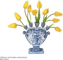 Flat Flowers Fensteraufkleber Delfter Gelb
