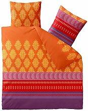 Flauschig weiche Winter-Bettwäsche Baumwolle Biber 200 x 200 cm CelinaTex 0004062 Touchme Chliana orange rot lila viole