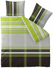 Flauschig weiche Winter-Bettwäsche Baumwolle Biber 200 x 220 cm CelinaTex 0004085 Touchme Corinna grau grün anthrazit weiß Streifen