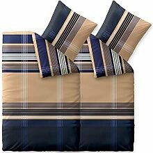 Flauschig weiches Winter-Bettwäsche-Set Baumwolle Biber 135 x 200 cm 4 tlg. CelinaTex 0004100 Touchme Carola beige blau anthrazit weiß Streifen