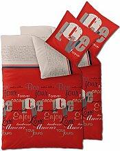 Flauschig weiches Winter-Bettwäsche-Set Baumwolle Biber 135 x 200 cm 4 tlg. CelinaTex 0004103 Touchme Julia rot beige Love Schriftzug