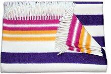 """Flauschige Wolldecke/Wohndecke/Kuscheldecke/Plaid """"Blavand"""", lila gelb rosa gestreift, aus 100 % feiner Schurwolle, hergestellt in Deutschland, in unterschiedlichen Farben mit Streifen"""