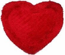 Flauschiger Herzteppich | Badteppich |Lila Beige