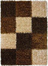 Flauschiger Shaggy-Teppich Capri mit Schachbrett-Muster handgetuftet aus besonders robustem und pflegeleichtem Material, Größe:70 x 140 cm, Farbe:Braun