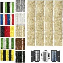 Flauschvorhang 100x220cm Insektenschutz Campingvorhang in verschiedenen Farben, Auswahl: Unistreifen beige
