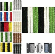 Flauschvorhang 120x220cm Insektenschutz Campingvorhang in verschiedenen Farben, Auswahl: Unistreifen schwarz - grün - weiß