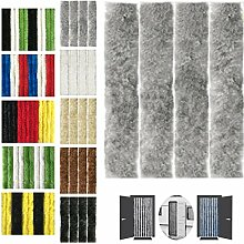 Flauschvorhang 120x220cm Insektenschutz Campingvorhang in verschiedenen Farben, Auswahl: Unistreifen grau