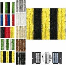 Flauschvorhang 120x220cm Insektenschutz Campingvorhang in Verschiedenen Farben, Auswahl: Unistreifen Schwarz - Gelb