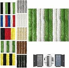 Flauschvorhang 120x220cm Insektenschutz Campingvorhang in verschiedenen Farben, Auswahl: Unistreifen grün - weiß