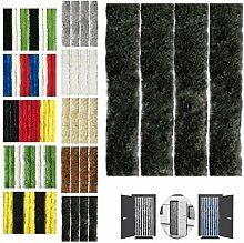 Flauschvorhang 90x200cm Insektenschutz Campingvorhang in verschiedenen Farben, Auswahl: Unistreifen schwarz