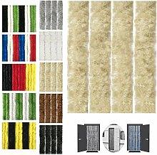 Flauschvorhang 90x200cm Insektenschutz Campingvorhang in verschiedenen Farben, Auswahl: Unistreifen beige