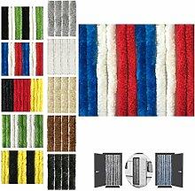 Flauschvorhang 90x200cm Insektenschutz Campingvorhang in verschiedenen Farben, Auswahl: Unistreifen rot - weiß - blau