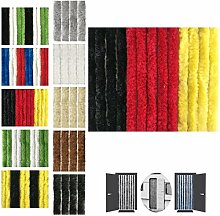 Flauschvorhang 90x220cm Insektenschutz Campingvorhang in verschiedenen Farben, Auswahl: Unistreifen schwarz - rot - gelb