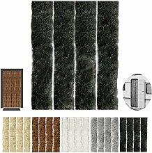Flauschvorhang, Campingvorhang, Insektenschutz uni farbend, Auswahl: schwarz - jet black 140 x 200 cm