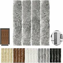 Flauschvorhang, Campingvorhang, Insektenschutz uni farbend, Auswahl: grau - hellgrau 120 x 210 cm