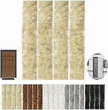 Flauschvorhang, Campingvorhang, Insektenschutz uni farbend, Auswahl: beige - sandbeige 120 x 220 cm