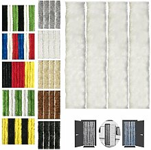 Flauschvorhang, Chenille Vorhang, Insektenschutz für den Sommer Extrabreit, Auswahl: 140x220 Unistreifen weiß