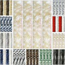 Flauschvorhang, Chenille Vorhang, Insektenschutz für den Sommer Extrabreit, Auswahl: 140x200 Meliert beige - weiß