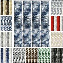 Flauschvorhang, Chenille Vorhang, Insektenschutz für den Sommer Extrabreit, Auswahl: 140x200 Meliert blau - weiß - silber
