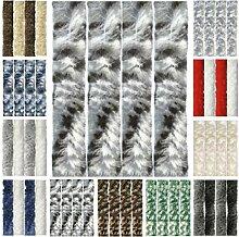 Flauschvorhang, Chenille Vorhang, Insektenschutz für den Sommer Extrabreit, Auswahl: 140x200 Meliert schwarz - grau - weiß